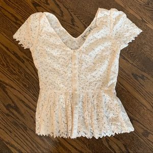 Lace button front peplum top